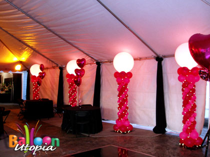 Sweet 16 tent decor balloon utopia for Balloon decoration ideas for sweet 16