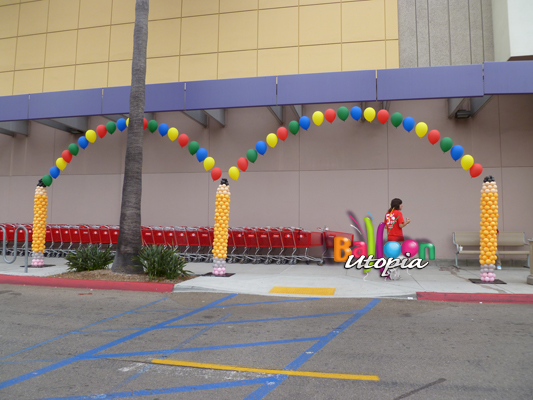 Balloon Pencil Columns with Jumping String of Pearl Arches