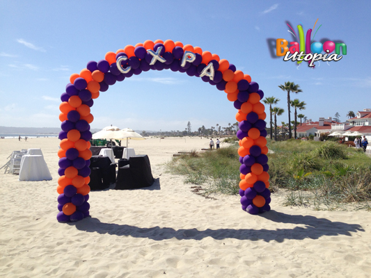 Balloon Arch on the beach in Coronado, Ca