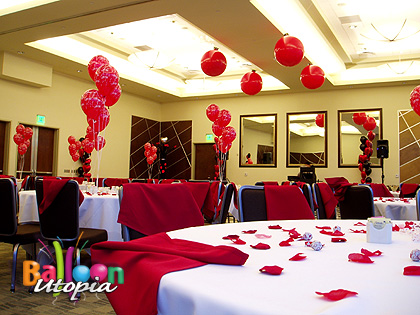 Overall room decor for Valentine's event
