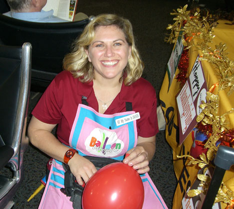Sandi busy making balloons for corporate event